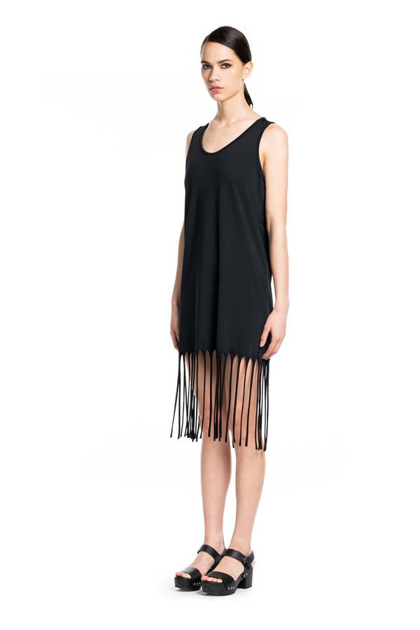 BETH RICHARDS Fringe Dress - Black MINIMAL SHIFT PULLOVER DRESS WITH FRINGE DETAIL ALONG HEM