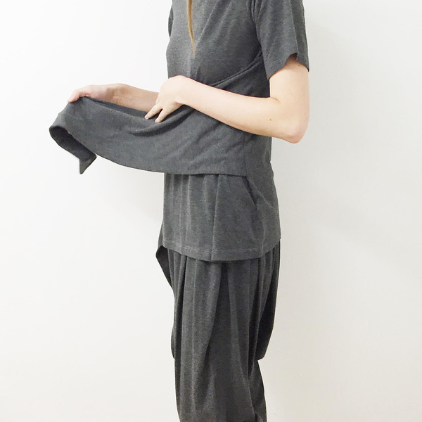 Shelby Steiner Charcoal Tie Top