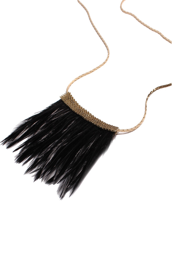 Serefina Mesh Feather Long Necklace