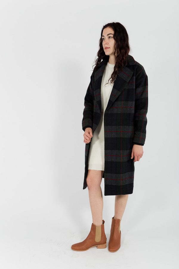 Le Mont St. Michel Checked Wool Coat
