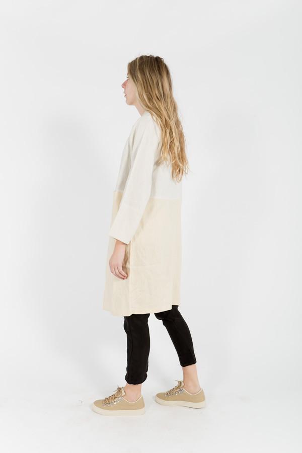 7115 by Szeki Color Blocked Linen Coat