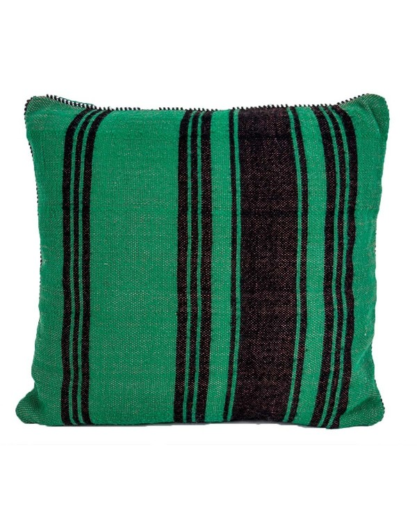 Vintage Green Striped Moroccan Kilim Pillow