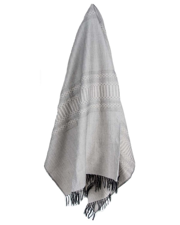 Hand Woven Black and White Patterned Cotton Throw Blanket