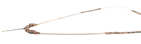 Arielle de Pinto Spaced Bare Chain Necklace in Rose Gold and Spectrum
