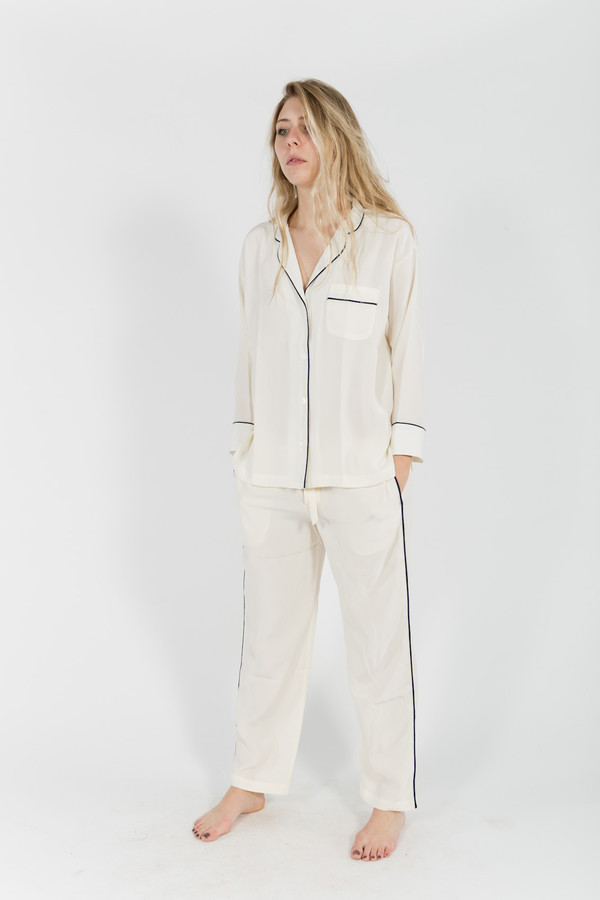 Sleepy Jones Silk Marina Pajama Shirt