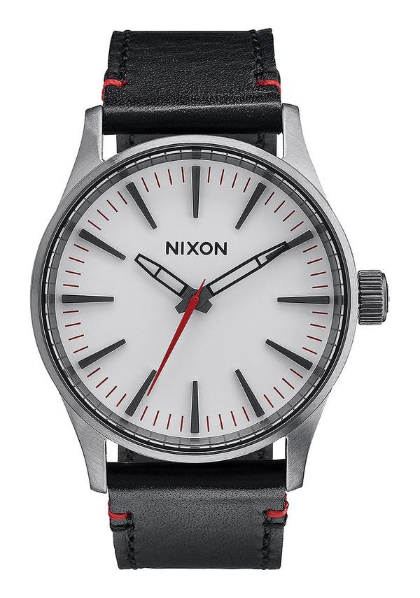 Nixon Sentry 38 Leather Gunmetal/White