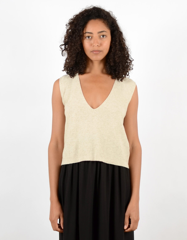 Ali Golden Knit V-Neck Tank Oatmeal