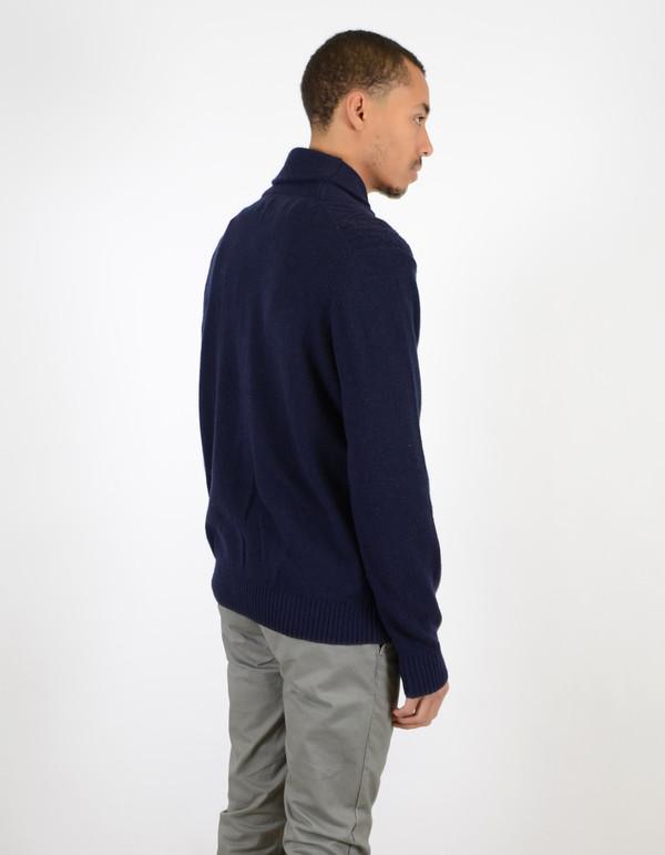 Ben Sherman Textured Shawl Collar Sweater Navy Blazer