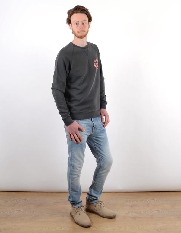 Men's Deus Scorpion Dance Crew Sweatshirt Washed Black