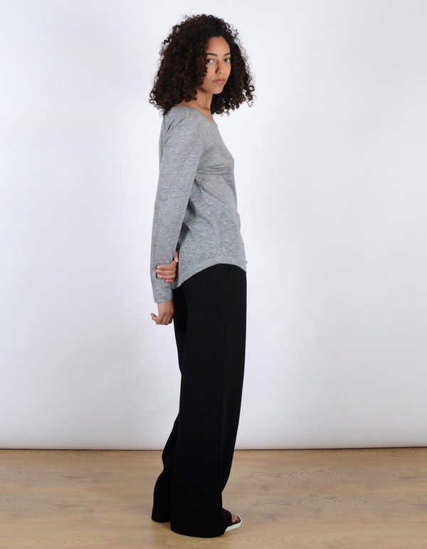 Filippa K Linen Long Sleeve Tee Light Grey Melange