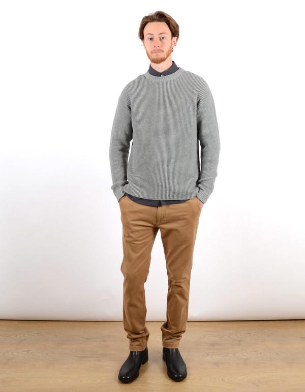 Filippa K Men's Waffle Knit Sweater Grey Melange