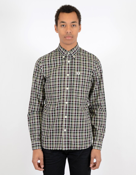 Fred Perry Herringbone Large Check Shirt Mahogany