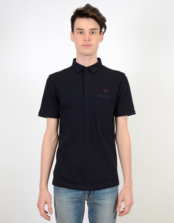 Fred Perry Oxford Trim Pique Shirt Navy