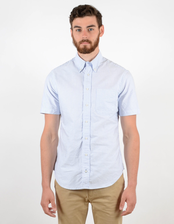 Men's Gitman Vintage Short Sleeve Oxford Blue Stripe