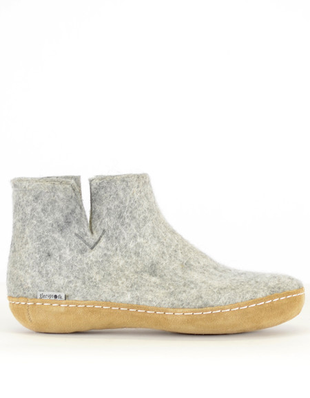 Glerups Men's Wool Boot Leather Sole Grey