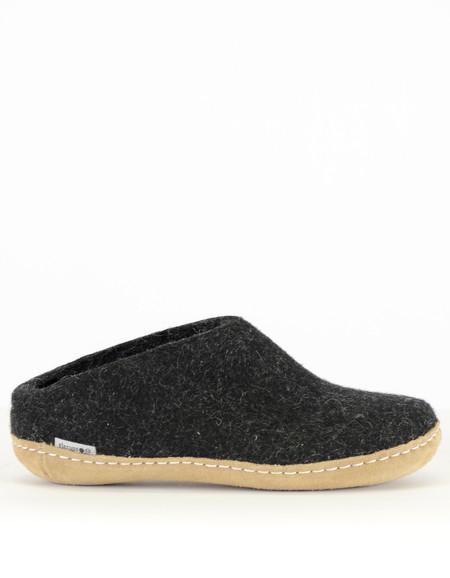 Glerups Women's Wool Slipper Leather Sole Charcoal