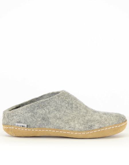 Glerups Women's Wool Slipper Leather Sole Grey