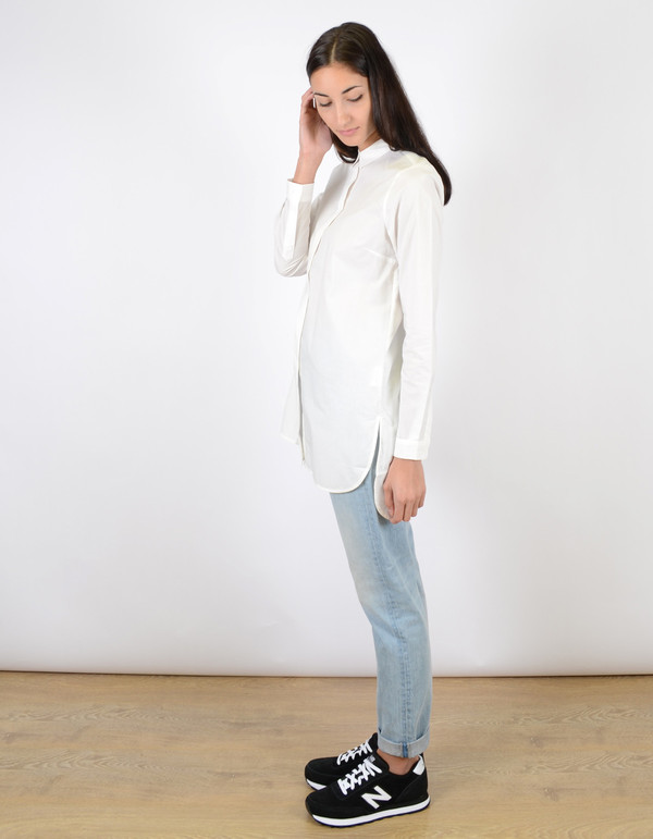 Just Female Pocca Long Shirt White