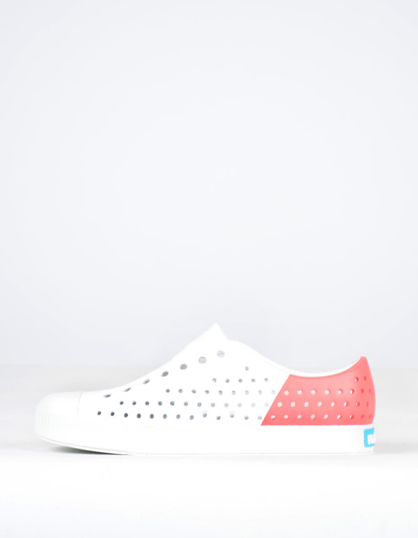 Native Shoes Native Jefferson Block Shell White with Snapper Red