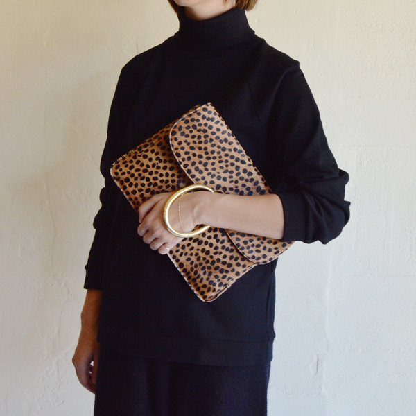 A Détacher Lou Clutch in Cheetah Pony Hair
