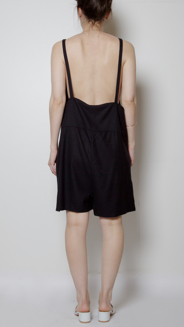 Baserange Short Strap Overalls in Black