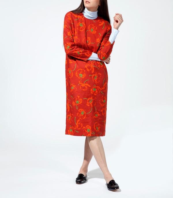 CARLEEN California Midi Dress in Dark Poppy