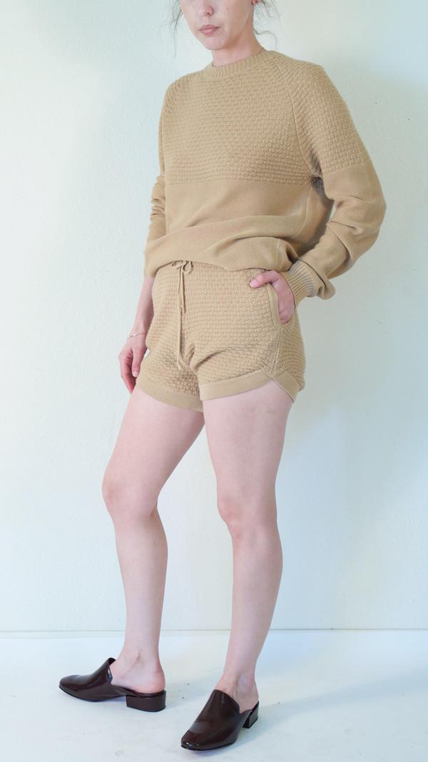 giu giu Tuck Stitch Boxer Shorts in Nude