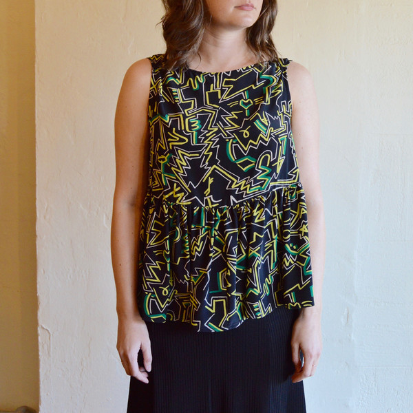 Rachel Comey Sleeveless Longfellow Blouse in Punk Print