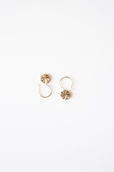 Jorge Morales Gold Plated Brass Pinwheel Earring