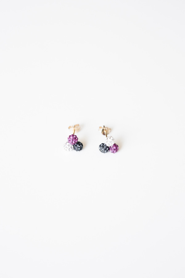 Jorge Morales Gold Plated Multi Color Zirconia Earrings