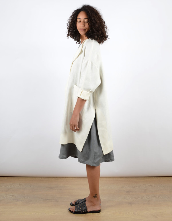 Sunja Link Collarless Coat Cream
