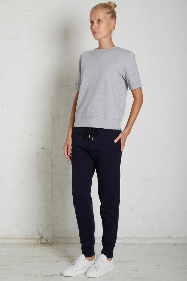 Handvaerk Grey Melange Short Sleeve Sweatshirt