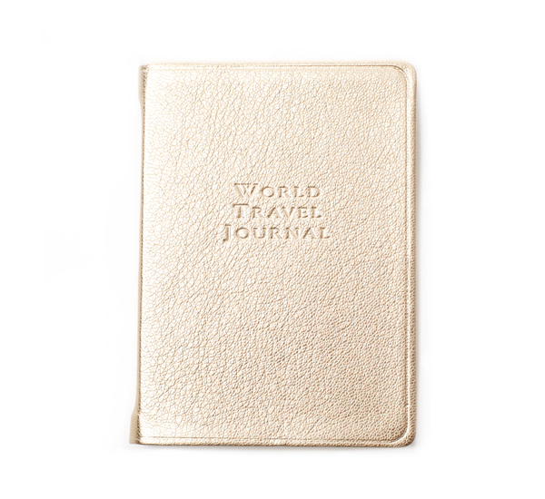 Hayden Leather White Gold World Travel Journal