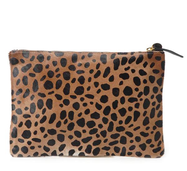 Clare V. Leopard Flat Clutch