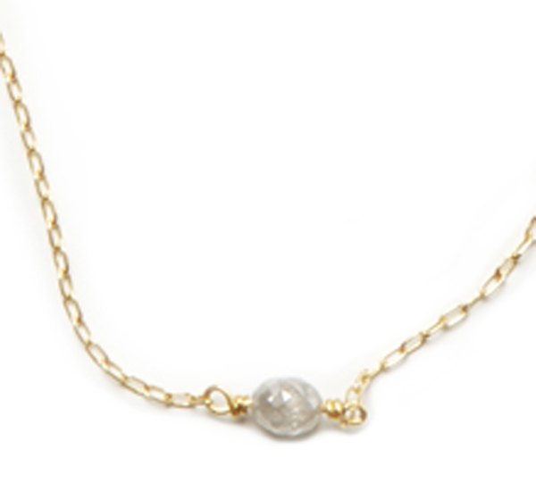 Rosanne Pugliese 18K Chain With Grey Diamond Bead Necklace