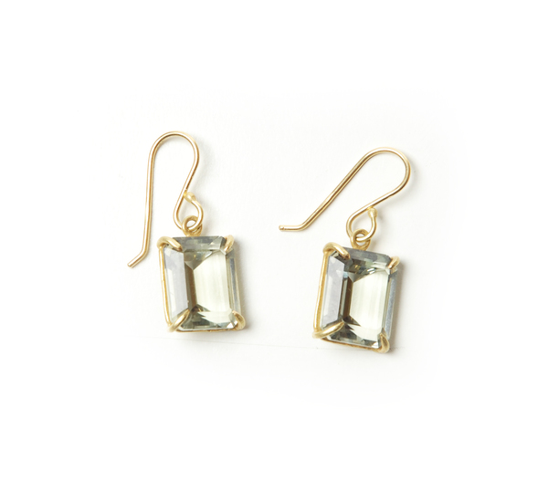 Rosanne Pugliese 18K Emerald Cut Faceted Green Amethyst Earrings