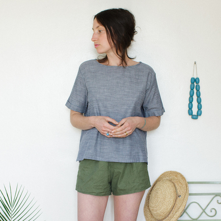 Me & Arrow Square Top Dot Chambray