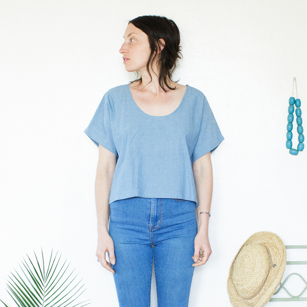 Me & Arrow Crop Top - Lt. Indigo Chambray