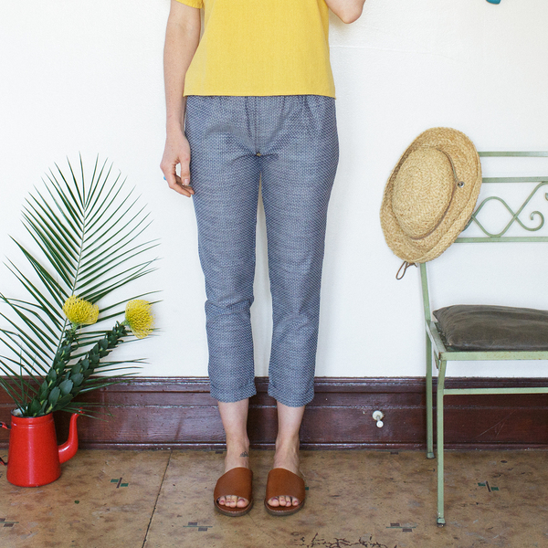 Me & Arrow  Cuff Slim Pants Dot Chambray