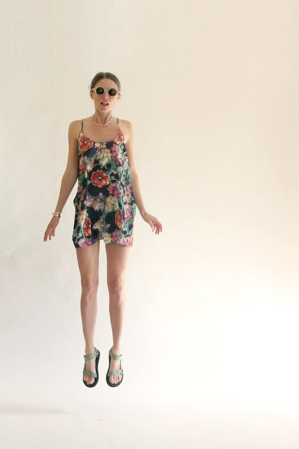 Strathcona Silk Camisole Dress in Watercolour Bouquet