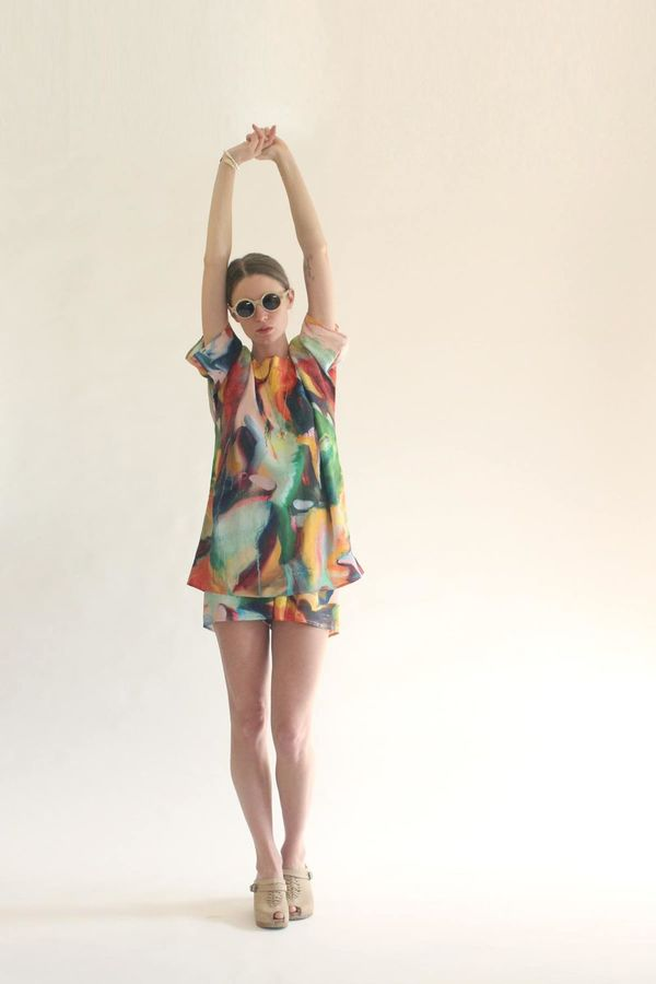 Strathcona Silk Tunic in Painted Gesture