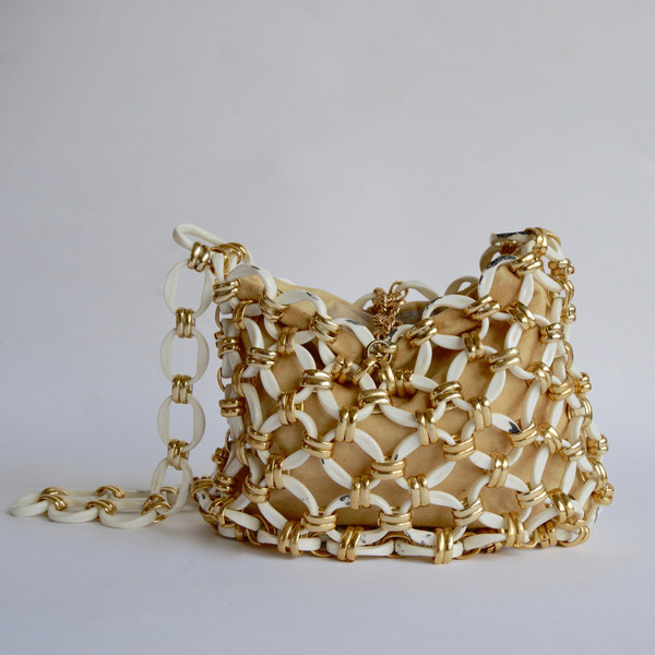 NONNA Vintage Vintage Raoul Calabro Chainlink Purse in White/Gold