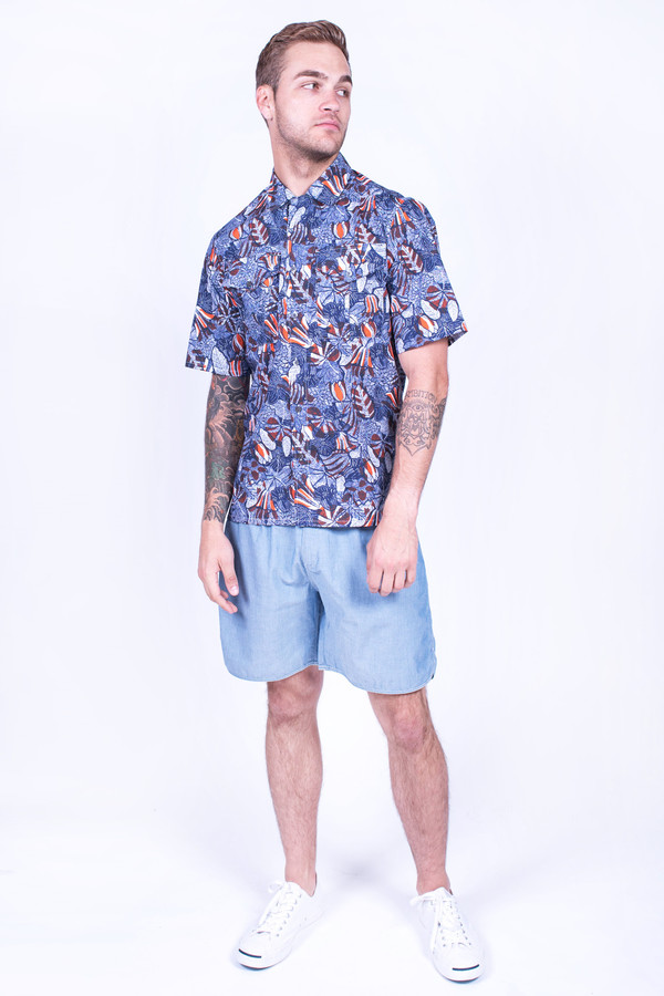 Men's Maison Kitsune Hibiscus Safari Shirt