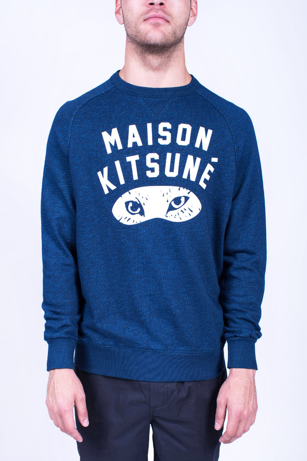 Men's Maison Kitsune Indigo Fox Eyes Sweatshirt