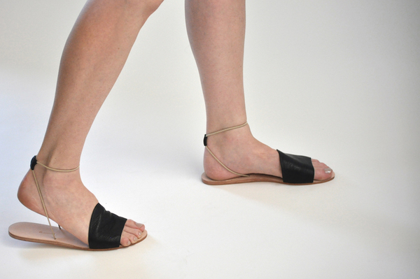 The Palatines Refero Sandal - Black leather with Beige Elastic