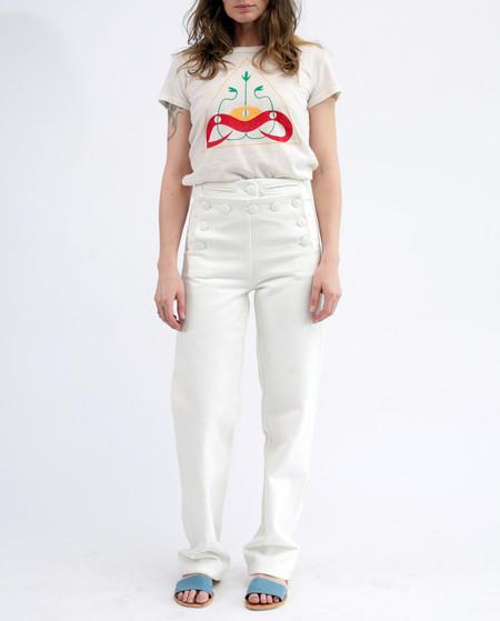 Tencel linen Daniel sailor pants, white denim
