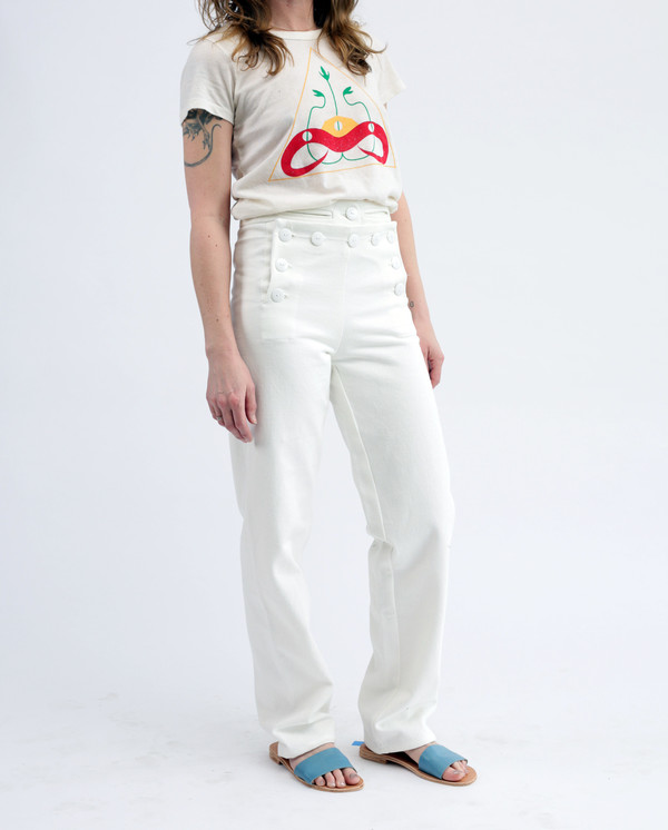 Tencel linen Daniel sailor pants, white denim