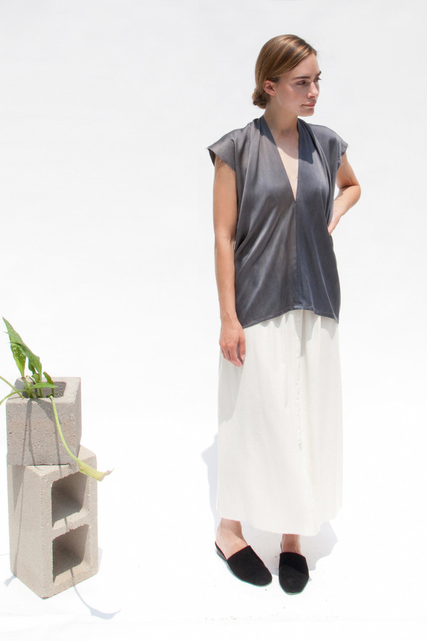 Miranda Bennett Everyday Top, Silk Charmeuse in Slate