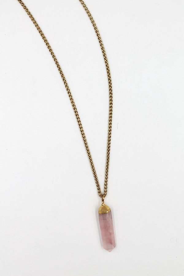 Sheila B Rose Quartz Pendant Necklace