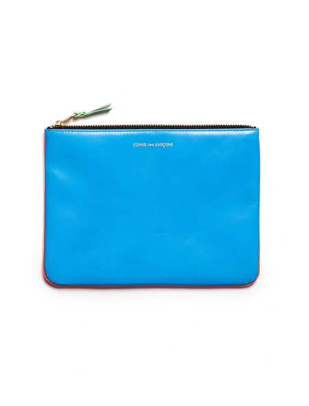 Comme des Garcons Super Fluo Zip Large Wallet - Orange/Blue